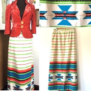 Vintage Maxi Skirt Southwestern Navajo Aztec Style